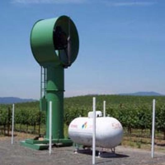 Wind machine, used for frost control in spring, reduces water use