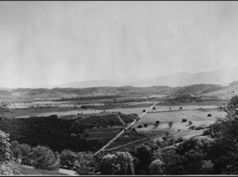 Coyote Valley prior to construction of the federal dam which created Lake Mendocino to supply water to Sonoma County and provide flood control for Ukiah