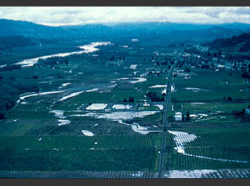 This winter photo of the Russian River valley shows the former channels of the river and creeks