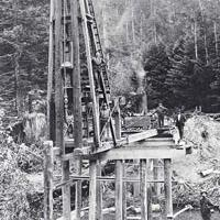 Building a railroad bridge over the south fork Gualala River.