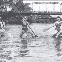Women's' wine barrel race in 1946 in the Russian River at Healdsburg