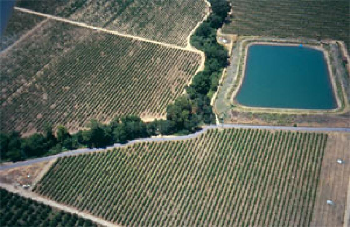 Aerial view of an off-stream reservoir